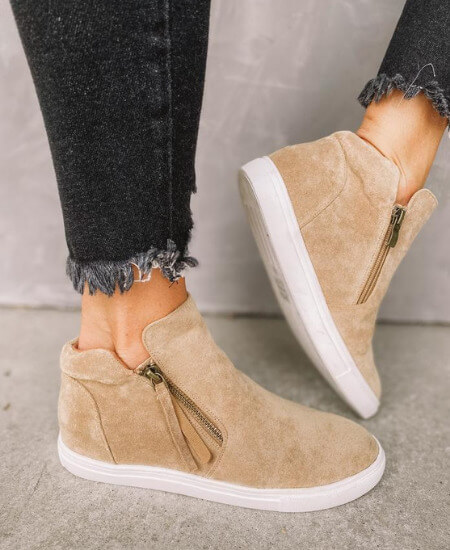 Ruthie Grace || CARSON SUEDE HIGH TOP SNEAKER-TAUPE $ 56.99