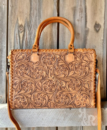 Ropes and Rhinestones || WORKING COWGIRL FLORAL TOOLED LEATHER TOTE $ 199.99