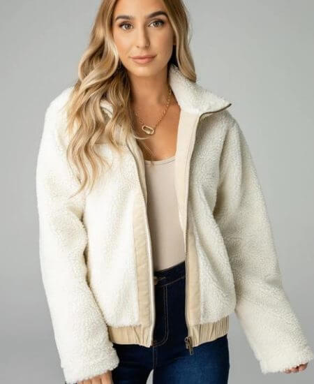 Pink Tag Boutique || Gloria Fuzzy Jacket $98