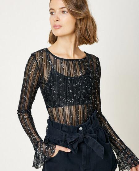 Melissajean Boutique || Sparkly Sheer Black Top $48.00