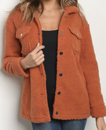 Sister Sue's Boutique || Retro Rust Sherpa Jacket $49.00