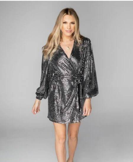 K. Ellis Boutique || ADELINE SEQUIN WRAP DRESS $94.00