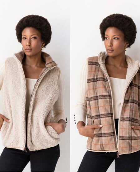 Shop Babes || REVERSIBLE SHERPA PLAID VEST - SMALL $29.95