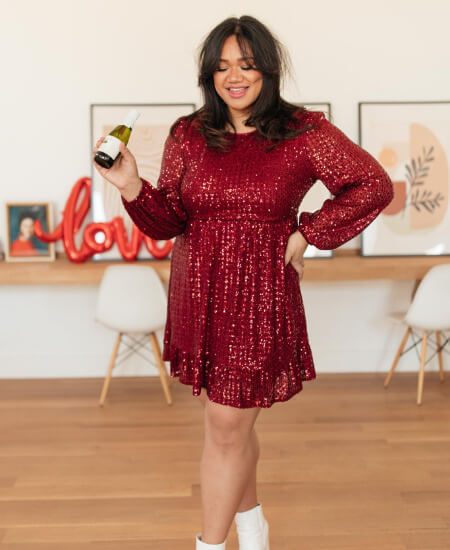 The Beautiful Pineapple Boutique || Mia Sequin Dress in Wine $48.99