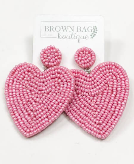 Brown Bag Boutique || Heart Earrings $12.00