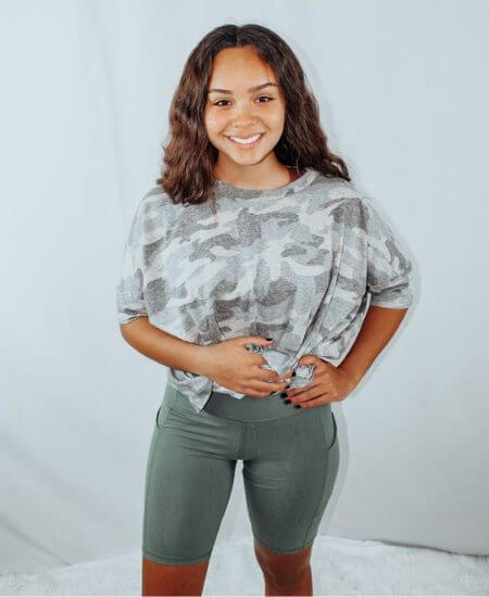 Permelia Boutique || Gray Sage Biker shorts with pockets $15.95