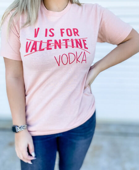 Jarvis Treasures || V is for Vodka Not Valentine Graphic Tee $28.00