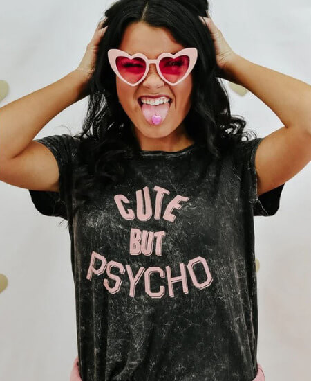Everyday Chic Boutique || She's cute but a psycho tee $38.50