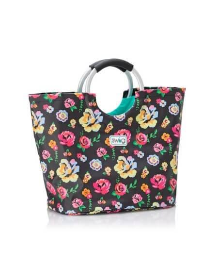 Eden Threads Boutique || Fleur Noir - Loopi Tote Bag $44.95