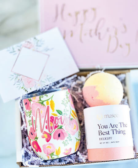 LaLa Confetti || Happy Mother's Day Gift Box with Wine Tumbler $45.95