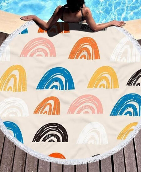 The Purple Tiger Boutique ||Rainbow Vibes Round Beach Towel $29.00