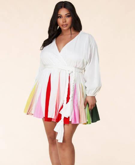 Haute2Wear || Runway White Pleated Plus Size Mini Dress $69.00