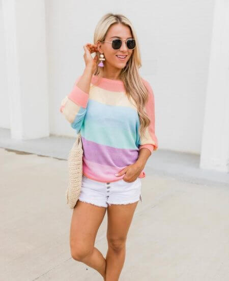 Our Little Secret Boutique || Bring The Fun Rainbow Striped Sweater