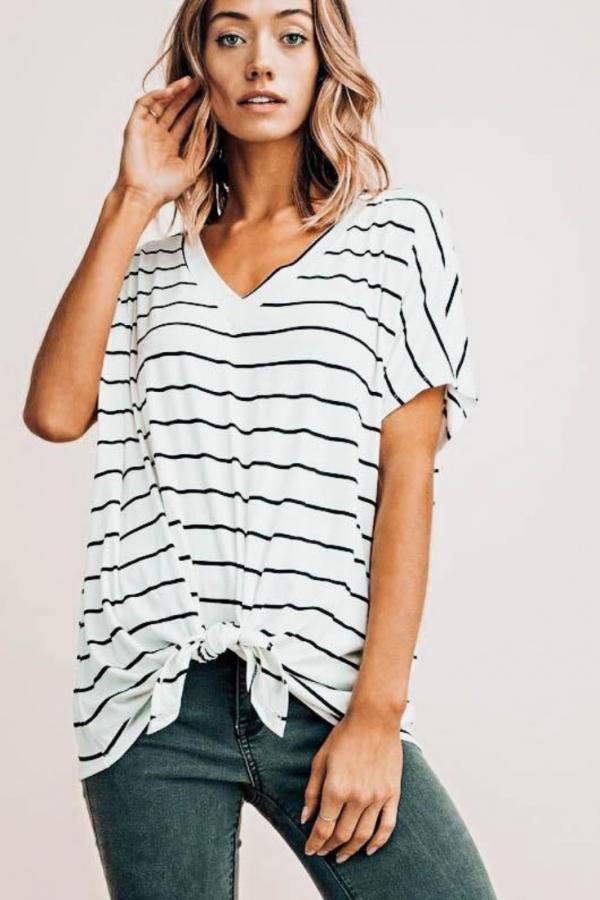 Makaila James | Sitting Pretty Striped Tee | $42.00