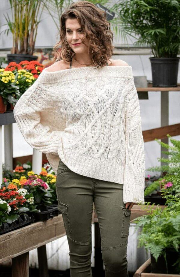 Olive Gypsy, Off The Shoulder Wool Cable Sweater,
