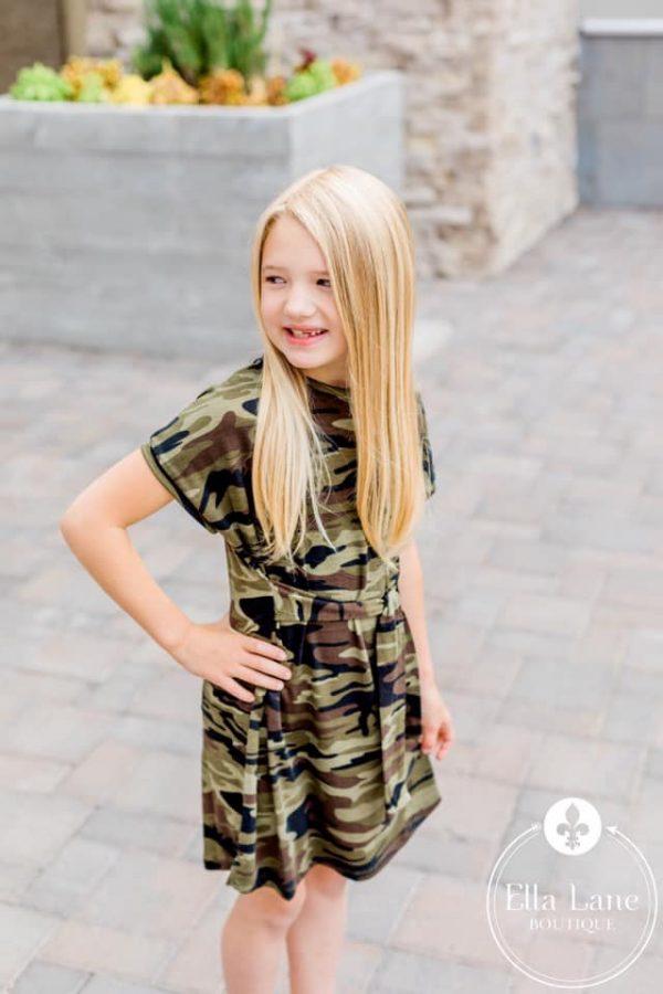 Ella Lane Boutique Kids Camo Tie Front Dress