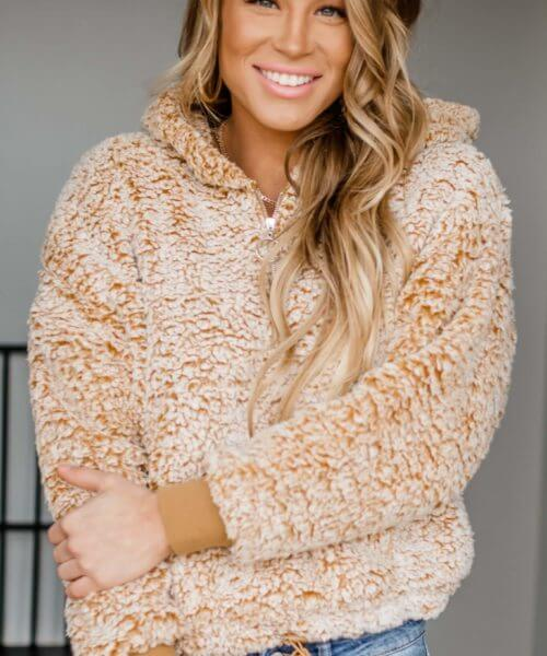 Stella Rae's || Dancing With No Music Mustard Sherpa Pullover $32.89
