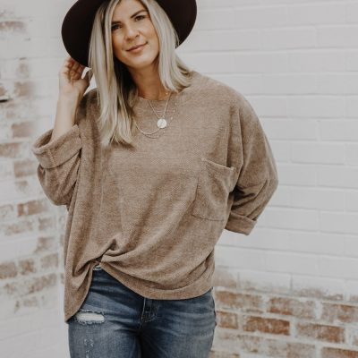 Indie Mae Boutique || Latte Chenille Knit Sweater $36.00